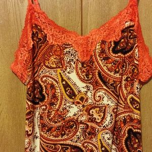 Lane Bryant Size 26/28W Orange & Black Paisley Cam